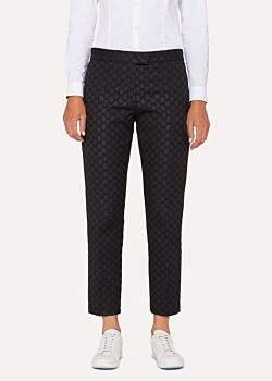 Paul Smith Women's Slim-Fit Black Polka Dot Jacquard Cotton-Blend Trousers