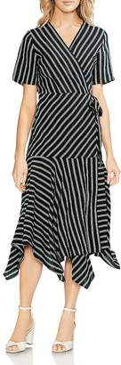 Vince Camuto Striped Handkerchief Wrap Dress
