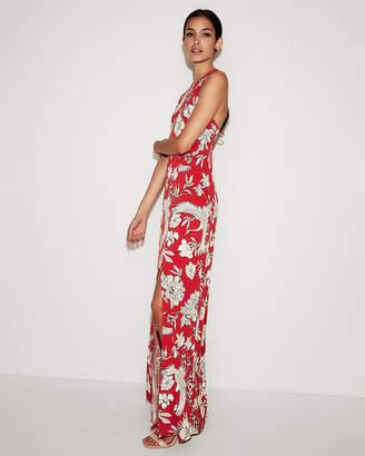 Express Petite Floral High Slit Maxi Dress