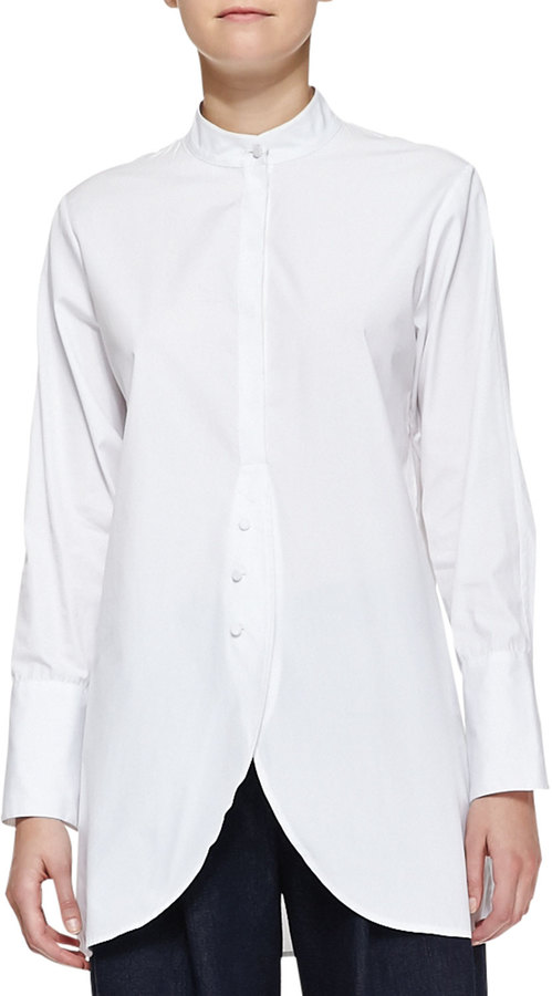 ADAM by Adam Lippes Poplin Shirt with Placket, White