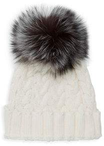 Adrienne Landau Natural Fox Fur Pom Pom Hat