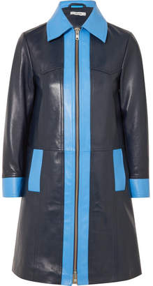 Ganni Passion Two-tone Leather Coat - Navy