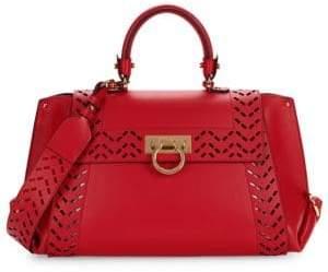Salvatore Ferragamo Cut-Out Leather Top Handle Bag