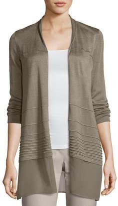 Nic+Zoe Textured Chiffon-Trim Cardigan, Plus Size