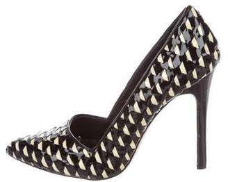 Alice + Olivia Woven Patent Leather Pumps