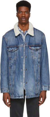 Levi's Levis Blue Denim Long Sherpa Jacket