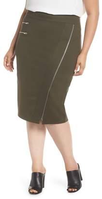 Sejour Zipper Detail Ponte Pencil Skirt