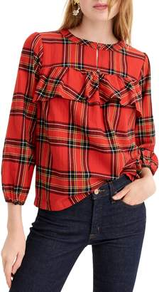 J.Crew Festive Plaid Ruffle Top