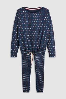 Next Womens Navy Star Tie Waist Pyjamas