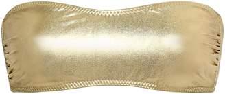 Norma Kamali Metallic Bandeau Bikini Top