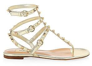 Valentino Women's Rockstud Ankle-Strap Leather Thong Sandals