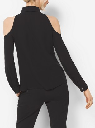 Michael Kors Cutout Silk-Georgette Blouse