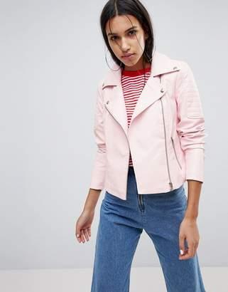 Noisy May Leather Look Biker Jacket