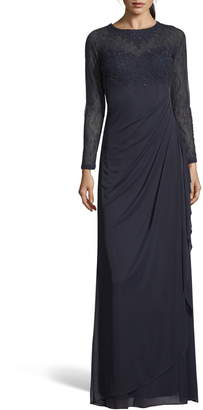 Xscape Evenings Lace Bodice Ruched Evening Dress