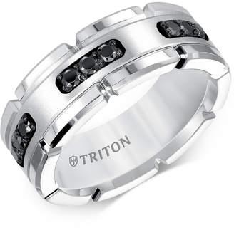 Triton Men Diamond Comfort Fit Band (1/3 ct. t.w.) in White Tungsten Carbide & Sterling Silver