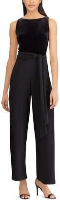 Chaps Petite Velvet Bodice Black Jumpsuit