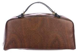 Etro Leather-Trimmed Printed Handle Bag
