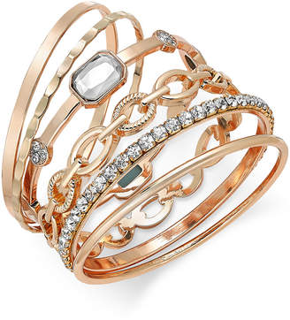 INC International Concepts I.n.c. Gold-Tone Crystal Enhanced Multi-Bangle Bracelet