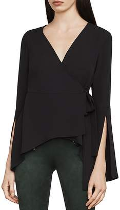 BCBGMAXAZRIA Jadine Bell Sleeve Wrap Top