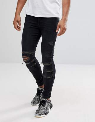 Asos Design Extreme Super Skinny Jeans In Washed Black With Knee Zips and Rips