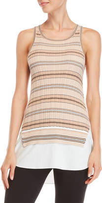 Derek Lam 10 Crosby Stripe Mixed Media Tank Top