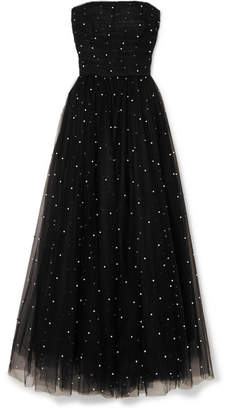 Monique Lhuillier Faux Pearl-embellished Tulle Gown - Black