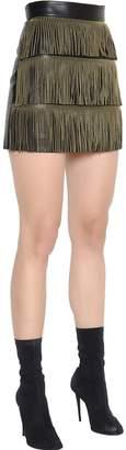 Francesco Scognamiglio Fringed Nappa Leather Mini Skirt