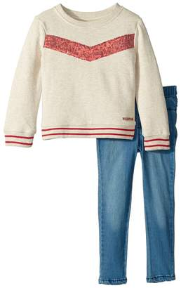 Hudson Two-Piece Oatmeal French Terry Pullover with Sequin Piecing, Stretch Denim Leggings Girl's Active Sets