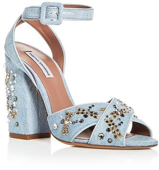 Tabitha Simmons Women's Connie Flyspark Embellished Denim Strappy Sandals
