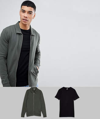 Asos DESIGN Muscle Harrington Jacket and Muscle T Shirt Multipack