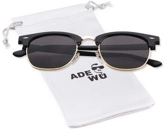 bb5cd0820bb4c ADEWU Sunglasses for Women Mens Clubmaster Sunglasses Vintage Retro Semi  Frame UV 400 Protection