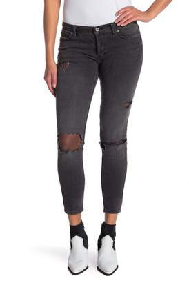 Free People Skinny Fishnet Jeans