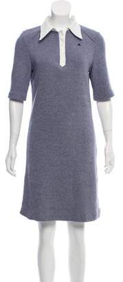 Courreges Short-Sleeve Knit Shirt Dress