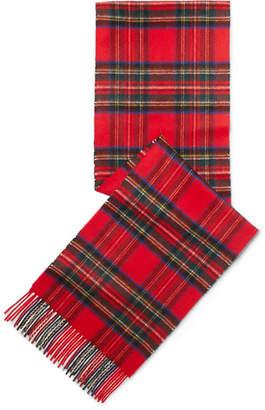 Johnstons of Elgin Fringed Tartan Cashmere Scarf - Red