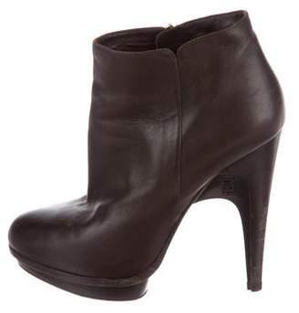 Fendi Platform Leather Ankle Boots