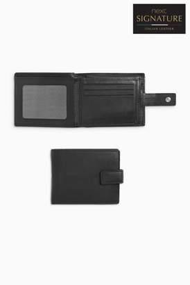 7c4f073c45b5ed Next Mens Black Signature Italian Leather Extra Capacity Popper Wallet