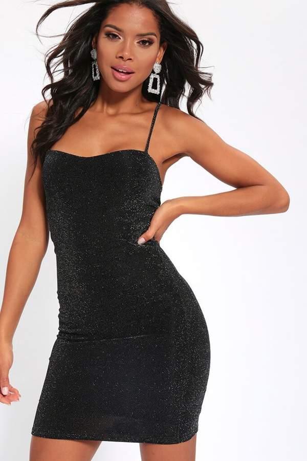 Isawitfirst Black Lurex Cami Mini Dress