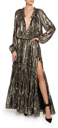 Altuzarra Shimmer Long-Sleeve V-Neck Dress