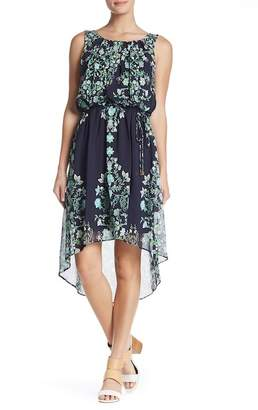 Sandra Darren Printed Hi-Lo Hem Dress