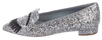 Chiara Ferragni Glitter Pointed-Toe Loafers