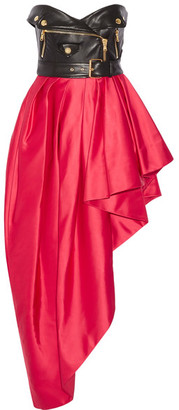 Moschino - Faux Leather And Ruffled Satin Midi Dress - Red $3,795 thestylecure.com