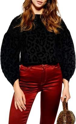 Topshop Sequin Embellished Leopard Sweater