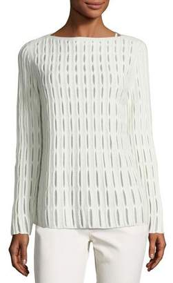 Lafayette 148 New York Cloud Open-Stitch Wool-Blend Sweater, Ivory $498 thestylecure.com