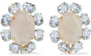 Bounkit Gold-tone, Moonstone And Quartz Earrings