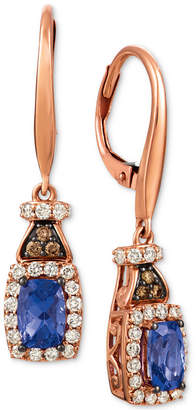 LeVian Le Vian Blueberry Tanzanite (3/4 ct. t.w.), Nude Diamond (1/2 ct. t.w.) and Chocolate Diamond (1/10 ct. t.w.) Earrings in 14k Rose Gold