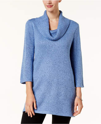 Karen Scott Cowl-Neck 3/4-Sleeve Sweater