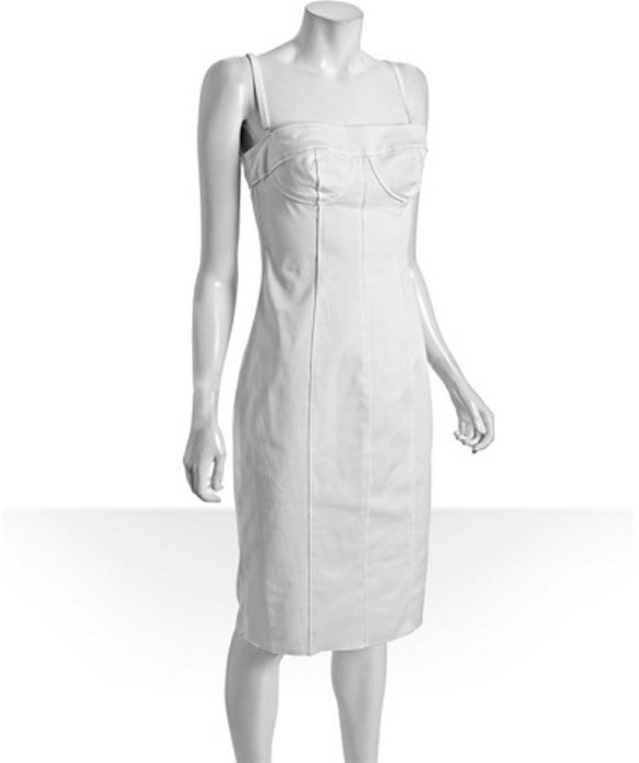 D&G white stretch cotton strapless bustier dress