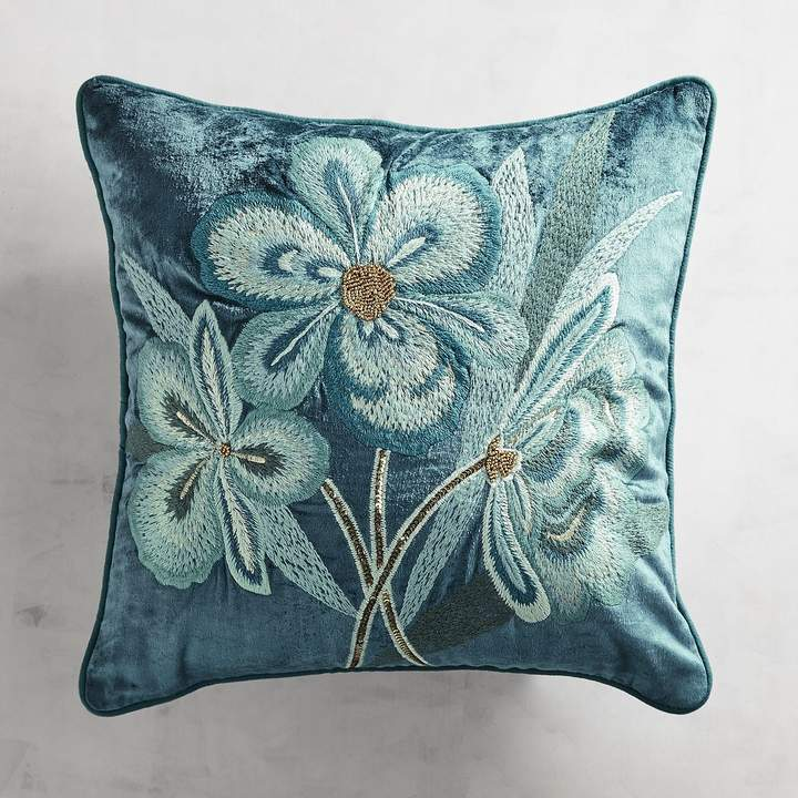 Embroidered Floral Velvet Pillow