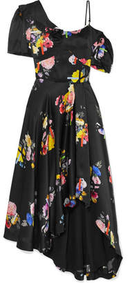 Preen by Thornton Bregazzi Irene Asymmetric Floral-print Silk-satin Dress - Black