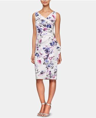 Alex Evenings Floral-Print Embellished Cascade Dress